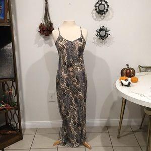 NWOT Snakeskin Maxi dress with slit